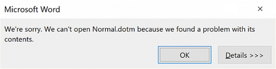 Can't open Normal.dotm