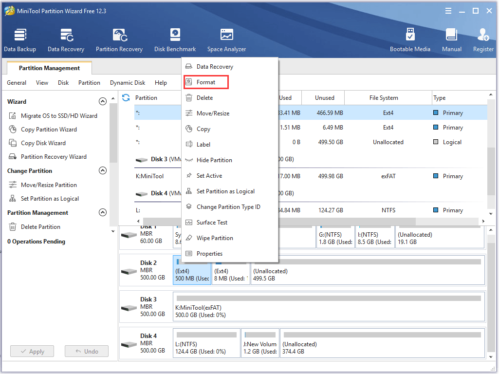 select Format on MiniTool Partition Wizard