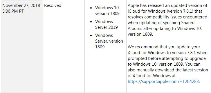 Apple Fixed iCloud Bug on October 2018 Update Windows 10