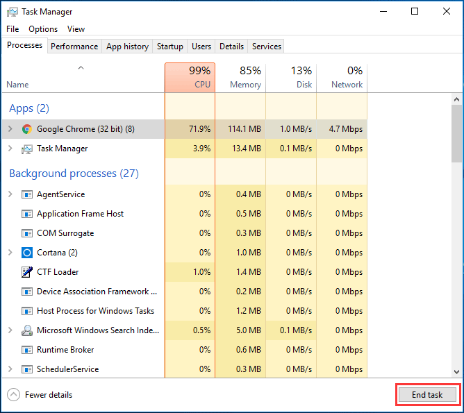 end Google task in task manager