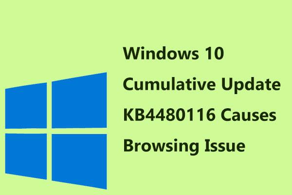Windows 10 Cumulative Update KB4480116 Causes Browsing Issue
