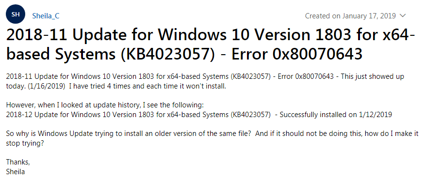 Windows 10 KB4023057 Installation Issue: Error 0x80070643