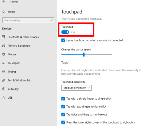 turn on touchpad in Settings