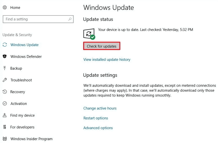 check for Windows 10 update