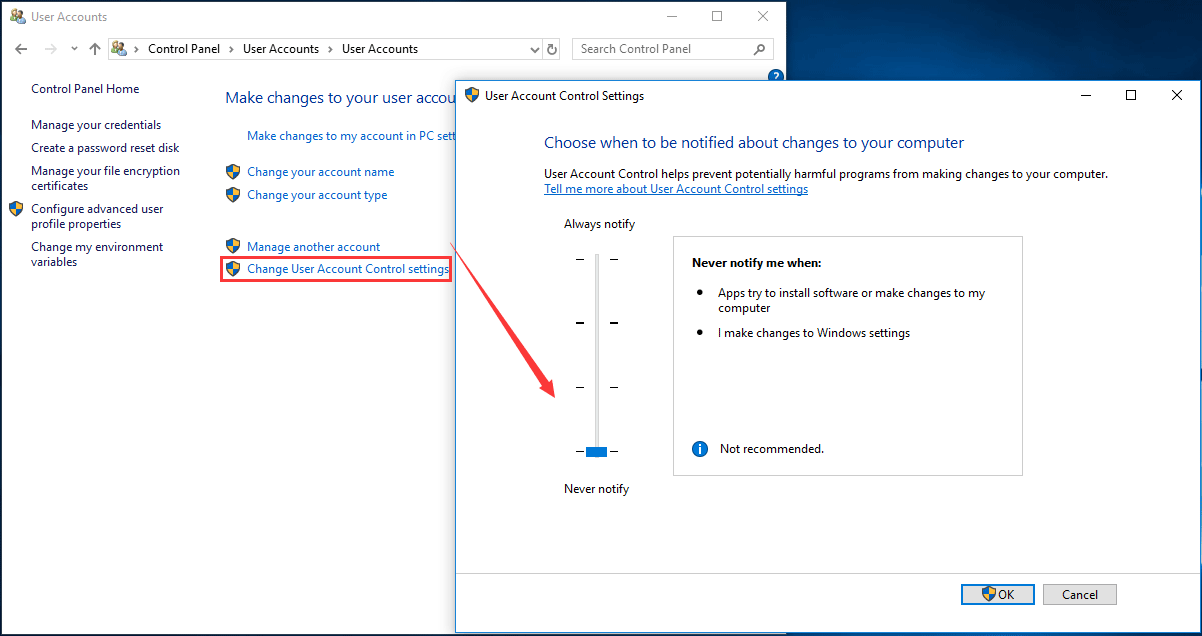 disable UAC Windows 10 control panel