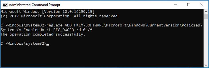 dsiable UAC Windows 10 command line