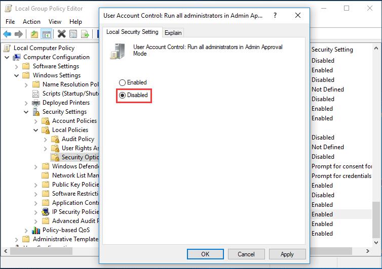 diable UAC Windows 10 group policy