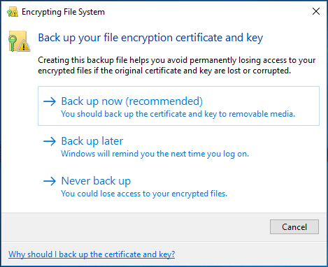 back up file encryption certificate and key
