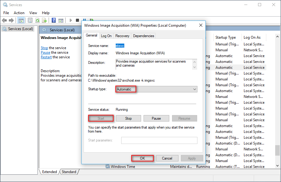 Windows Image Acquisition Properties