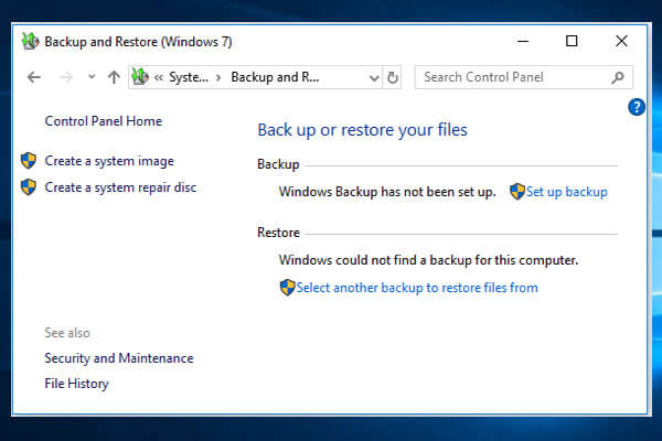 How to Use Backup and Restore Windows 7 (on Windows 10)