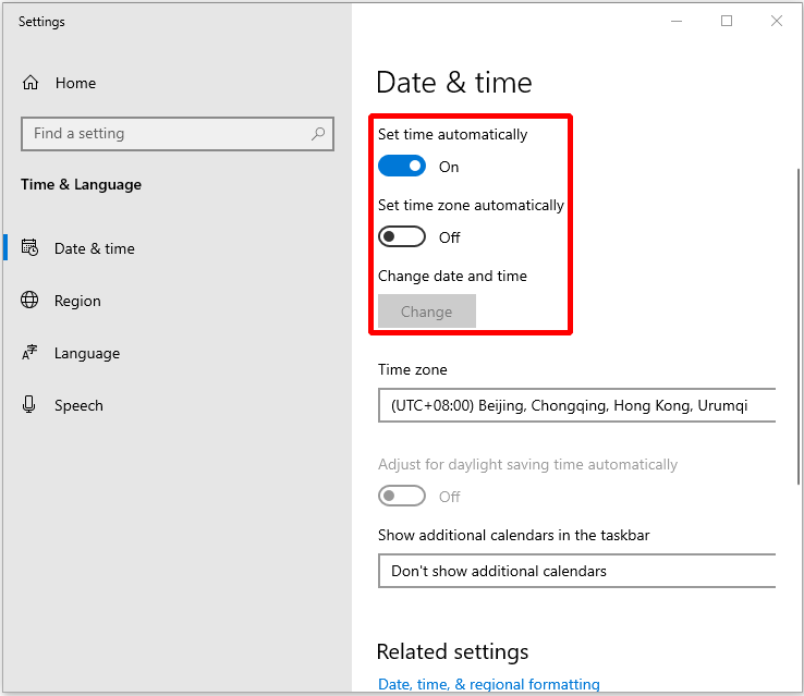 turn on Set time automatically and Set time zone automatically options