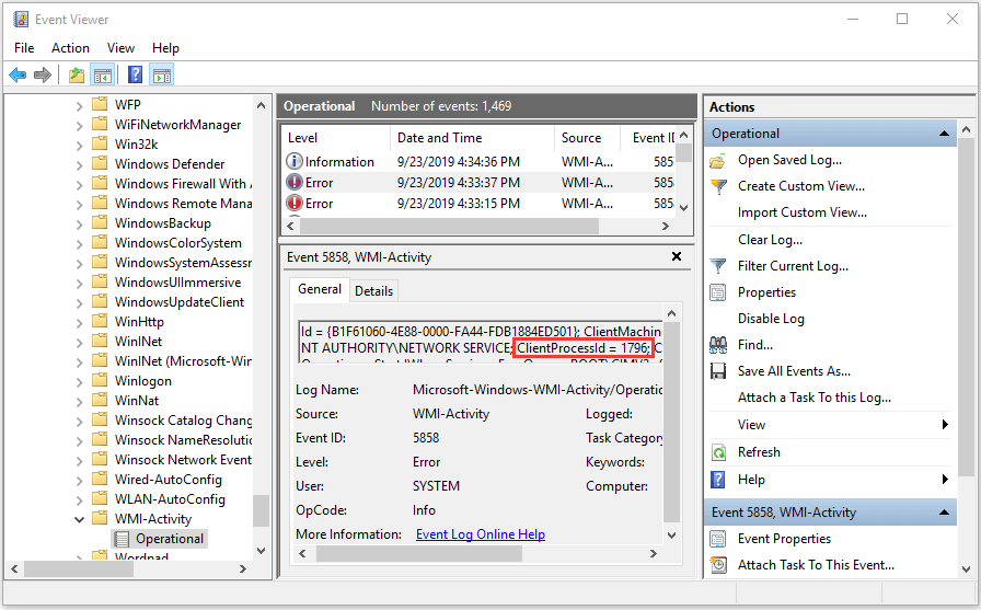 use Event Viewer to check error processes