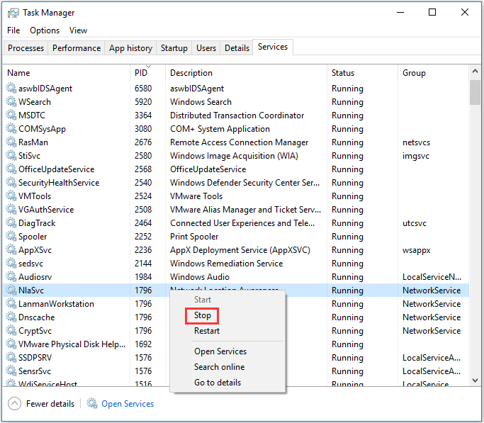 stop problem processes in Task Manager