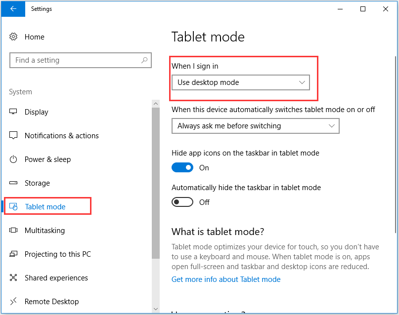 choose Use Desktop mode to continue