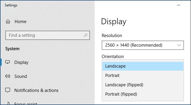 orientation de l'écran
