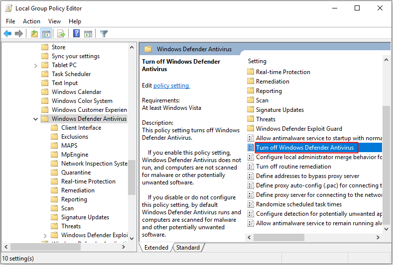 double-click Turn off Windows Defender Antivirus