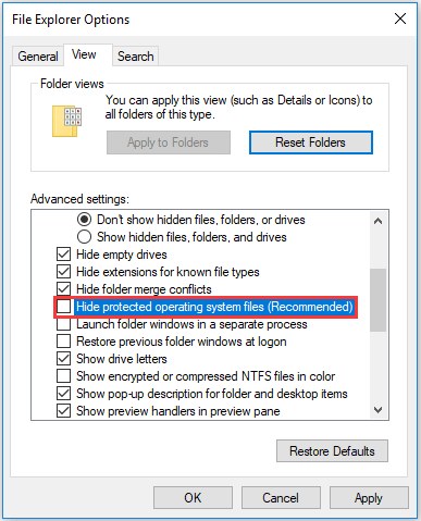uncheck the option hide protected operating system files