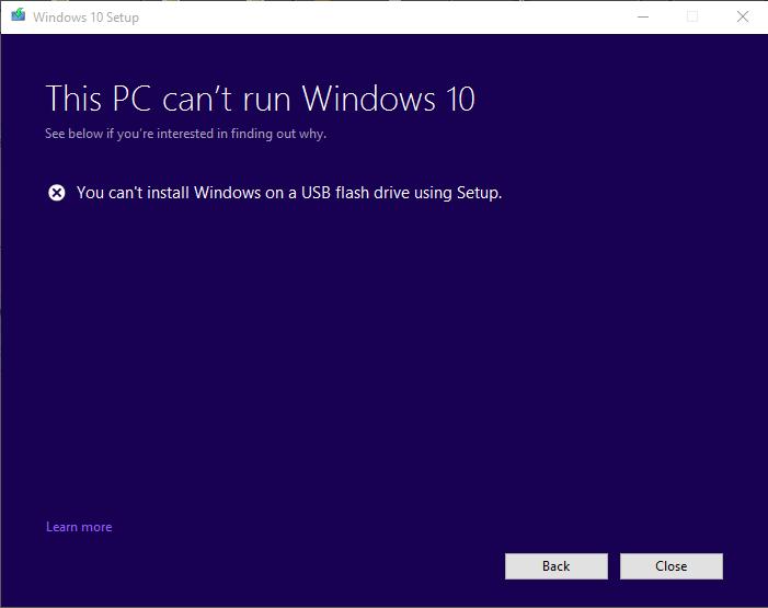 Fix - You Can't Install Windows 10 on a USB Drive Using Setup