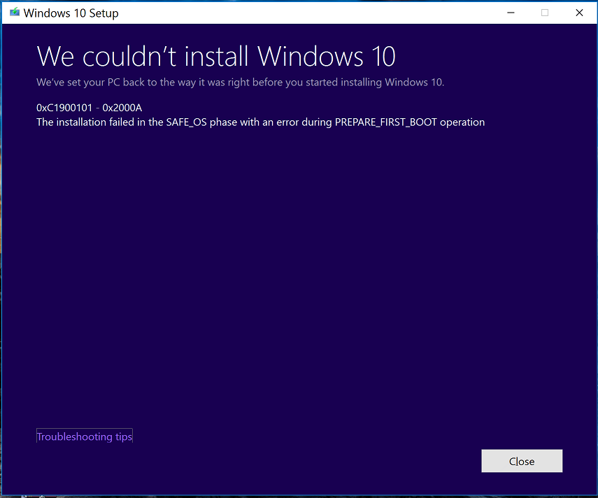 Windows 10 installation failed in the safe os phase