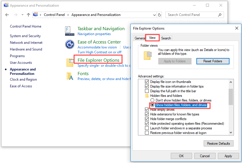 show hidden files in Windows with Control Panel