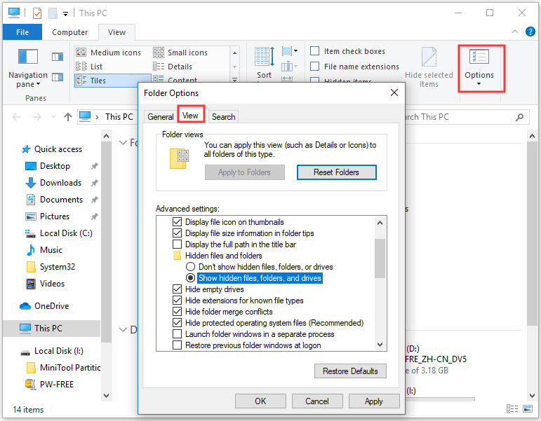 show hidden files and folders in Folder Options