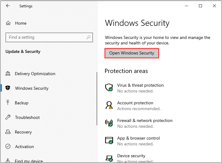 click Open Windows Security