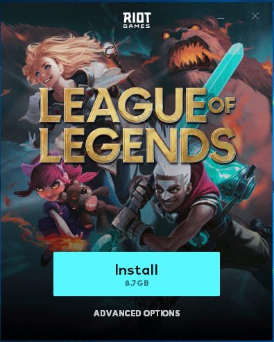 install League of Legends disk space