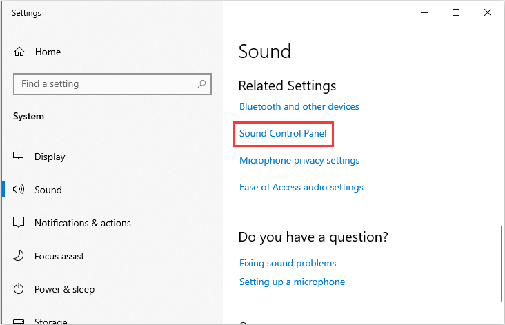 click the Sound Control Panel option