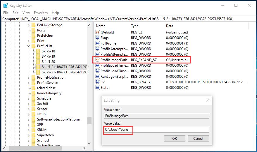 how to change user folder name Windows 10