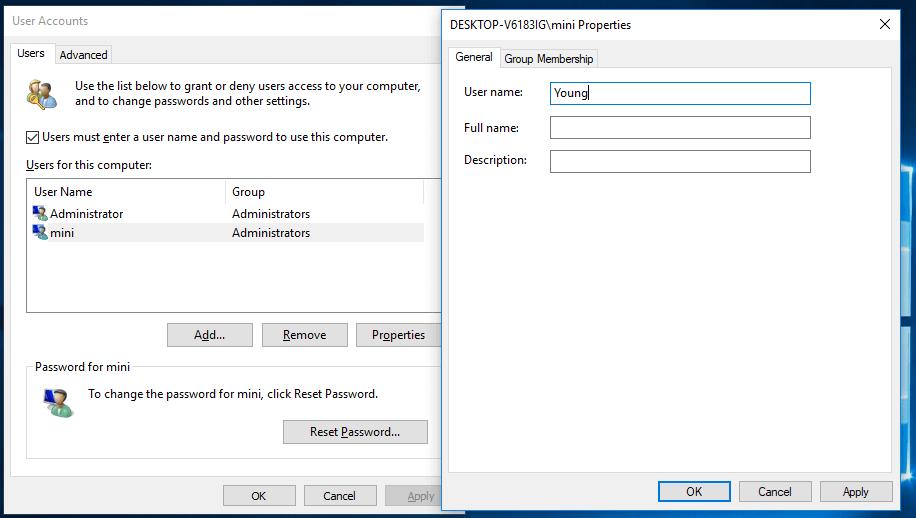 change Windows 10 user name in User Accounts window