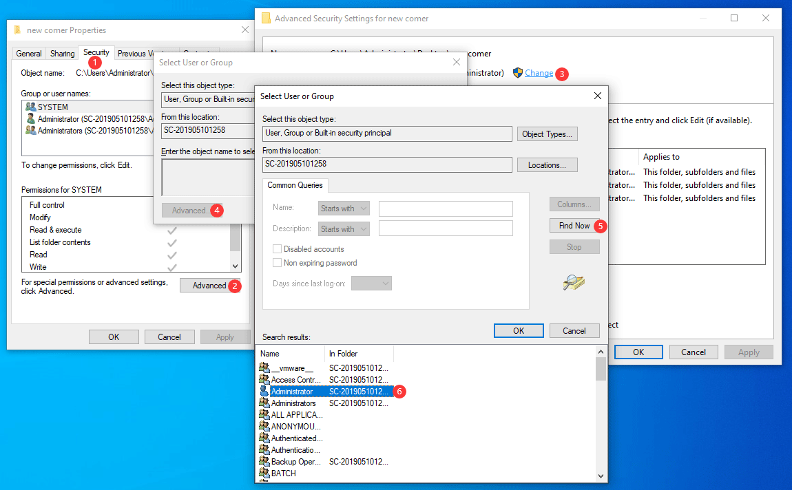 transfer the ownership of the folder